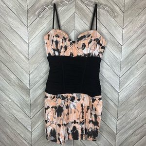 ASOS bustier with slimming waist. Peach and black